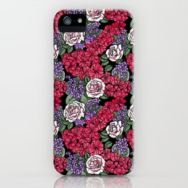 Chevron Floral Black iPhone Case