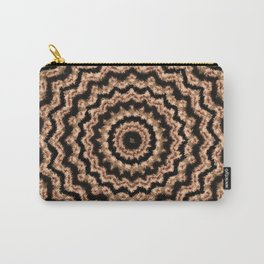 Kaleidoscope Beige Circular Pattern on Black Carry-All Pouch
