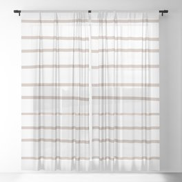 Rosy Mauve Pink, Blushing Bride, Cathedral Morning, Hand Drawn Horizontal Stripes on White Sheer Curtain