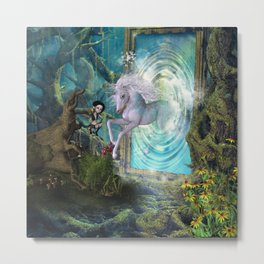 Cute unicorn jump by a gate Metal Print