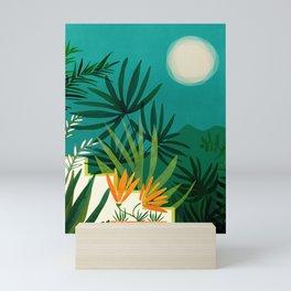 Tropical Moonlight / Night Scene Illustration Mini Art Print