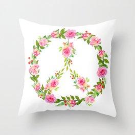 Pink Rose Peace Wreath Throw Pillow