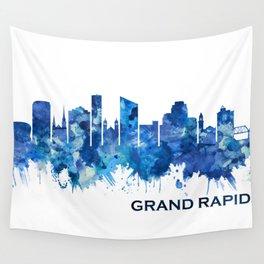 Grand Rapids Michigan Skyline Blue Wall Tapestry