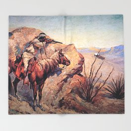 "Frederic Remington Western Art ""Apache Ambush"" Throw Blanket"