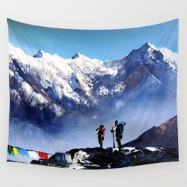 Panoramic View Of Ama Dablam Peak Everest Mountain Wall Tapestry