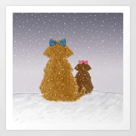 Cute Dogs Winter Scene Art Print