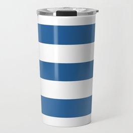 Lapis lazuli - solid color - white stripes pattern Travel Mug