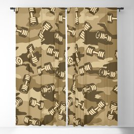 Dumbbell Gym Camo DESERT Blackout Curtain