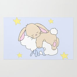Floppy Ears Woodland Baby Bunny Sleeping on Cloud in Starry Night Sky Rug