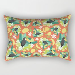Toucans Everywhere - Red Rectangular Pillow