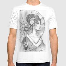 Elegant Oriental Japanese Geisha by Ashley Rose Standish Mens Fitted Tee White MEDIUM