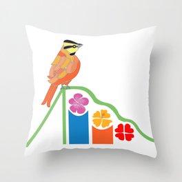 Bird on a slide Throw Pillow