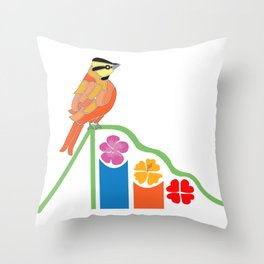 Bird on a slide Throw Pillow
