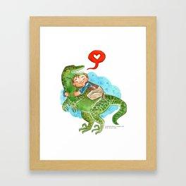 Jurassic World Hug Framed Art Print