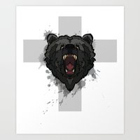 bear cross Art Print