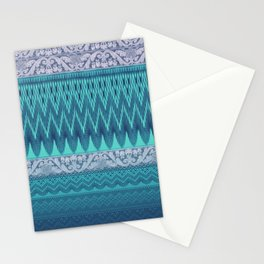 crochet mixed with lace in teal Stationery Cards