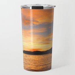 Orange sunset off the Lake Travel Mug