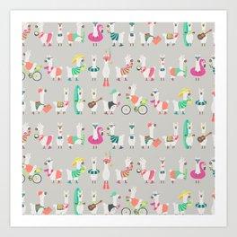 Summer llama Art Print