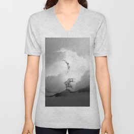 Faith is a Black and White Bird Square Artwork Unisex V-Neck