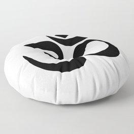 Minimal Black & White Om Symbol Floor Pillow