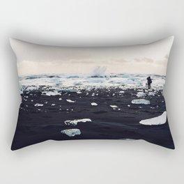 Photographer on Diamond Beach, Iceland Rectangular Pillow