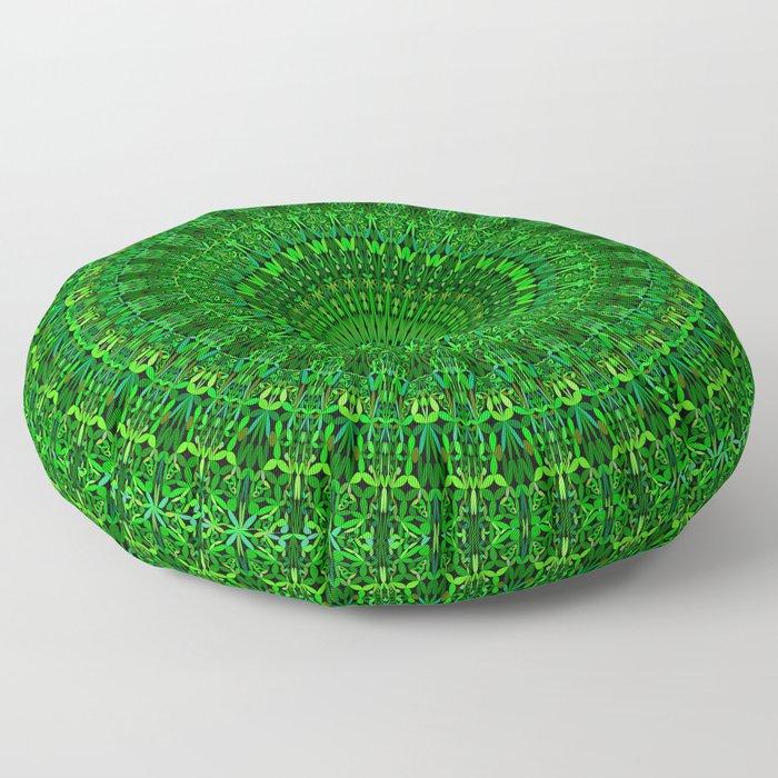 Green Bohemian Mandala Garden Floor Pillow