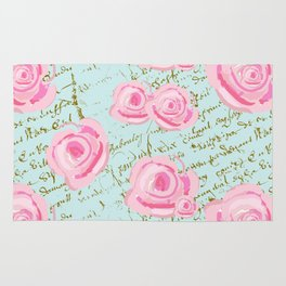 Pink  Roes and French Script Rug