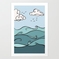 Clouds and Waves Art Print