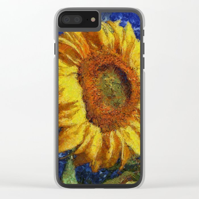 Sunflower In Van Gogh Style Clear iPhone Case