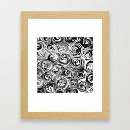 Onyx Black and White Paint Swirls Framed Art Print