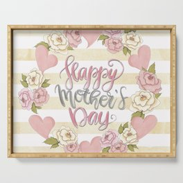 Happy Mothers Day Wreath Serving Tray