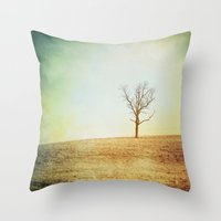 lonely Throw Pillows featuring lonely by cassandrapenceostermeier