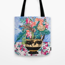 Tropical Banksia Bouquet after Matisse in Greek Boar Urn on Pale Painterly Blue Tote Bag