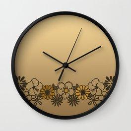 Kitschy Flower Medley Sepia Wall Clock