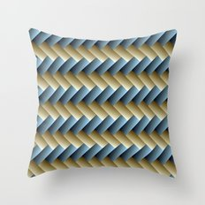 3D Weave, Blue and Yellow Gold Throw Pillow
