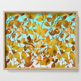 Autumn Leaves Azure Sky Serving Tray