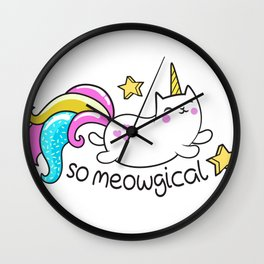 Kawaii Meowgical Glittery Unicorn cat Wall Clock