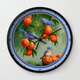 Bluebirds and Peaches Wall Clock