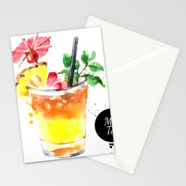 Watercolor Mai Tai Stationery Cards