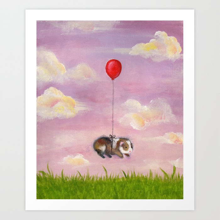 Balloon Ride - Guinea Pig With Balloon Art Print