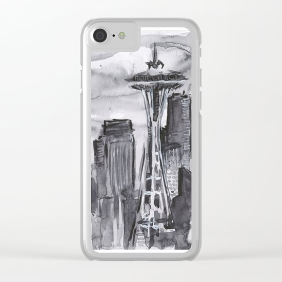 Seattle Skyline Watercolor Space Needle Washington PNW Clear iPhone Case