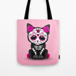 Cute Pink Day of the Dead Kitten Cat Tote Bag