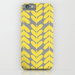 Chunky Knit Leaves and Stems Minimalist Botanical Pattern in Lemon Yellow and Light Gray iPhone Case