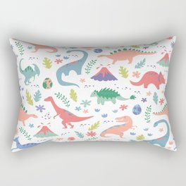 Dinos + Volcanoes - Coral Rectangular Pillow