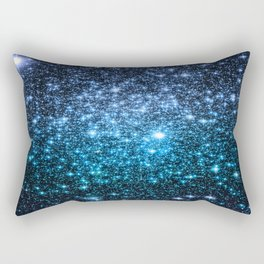Galaxy Sparkle Stars Periwinkle Blue Turquoise Ombre Rectangular Pillow