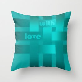 A satin ribbon .Turquoise background . With love. Throw Pillow