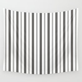 Pantone Pewter Gray & White Wide & Narrow Vertical Lines Stripe Pattern Wall Tapestry