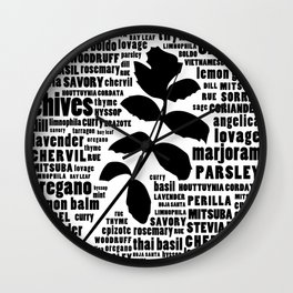 Herb Typography Kitchen Art - Black and White Wall Art Print Wall Clock