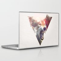 wolf Laptop & iPad Skins featuring daylight moon by Robert Farkas