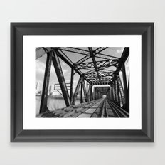 Train Bridge 3 - B&W Framed Art Print